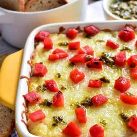 Cheesy Pesto Artichoke Dip