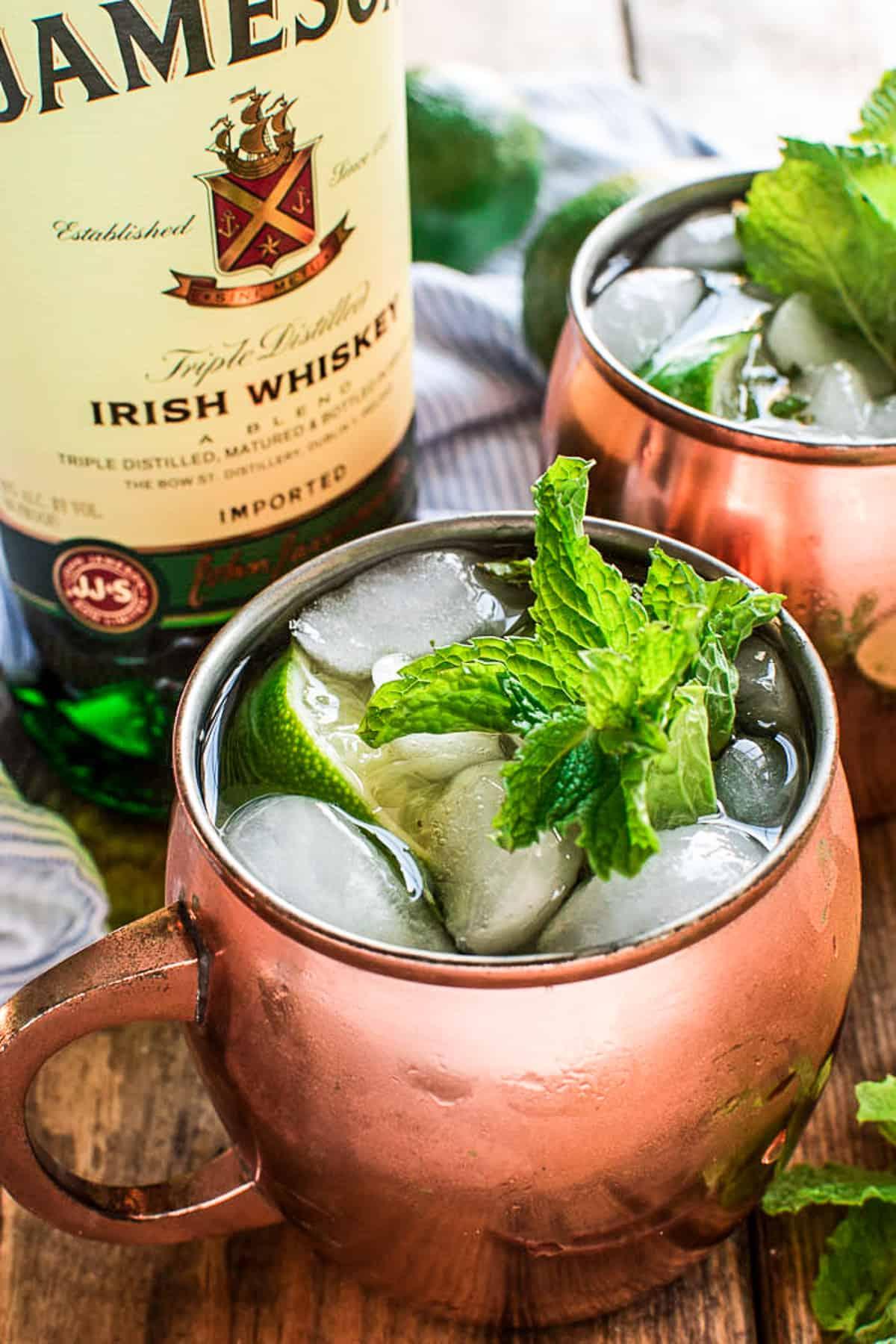 Irish Mule with Jameson Irish Whiskey bottle