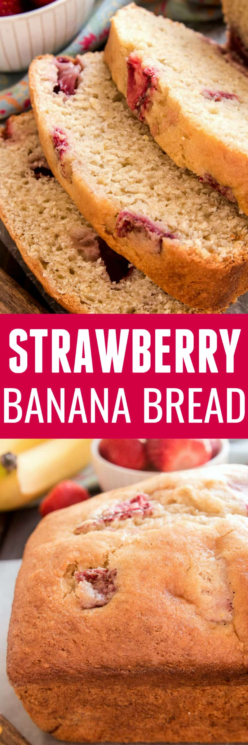 Banana Bread gets a fun new twist with the addition of fresh strawberries! This Strawberry Banana Bread starts with the BEST Banana Bread recipe and adds just a few simple ingredients to take it to the next level. Perfect for breakfast, snack, or even dessert...this recipe is packed with delicious flavor and sure to become a new favorite. If your family loves fresh, homemade bread, they'll go crazy for this delicious Strawberry Banana Bread! And you'll love how easy it is to make!