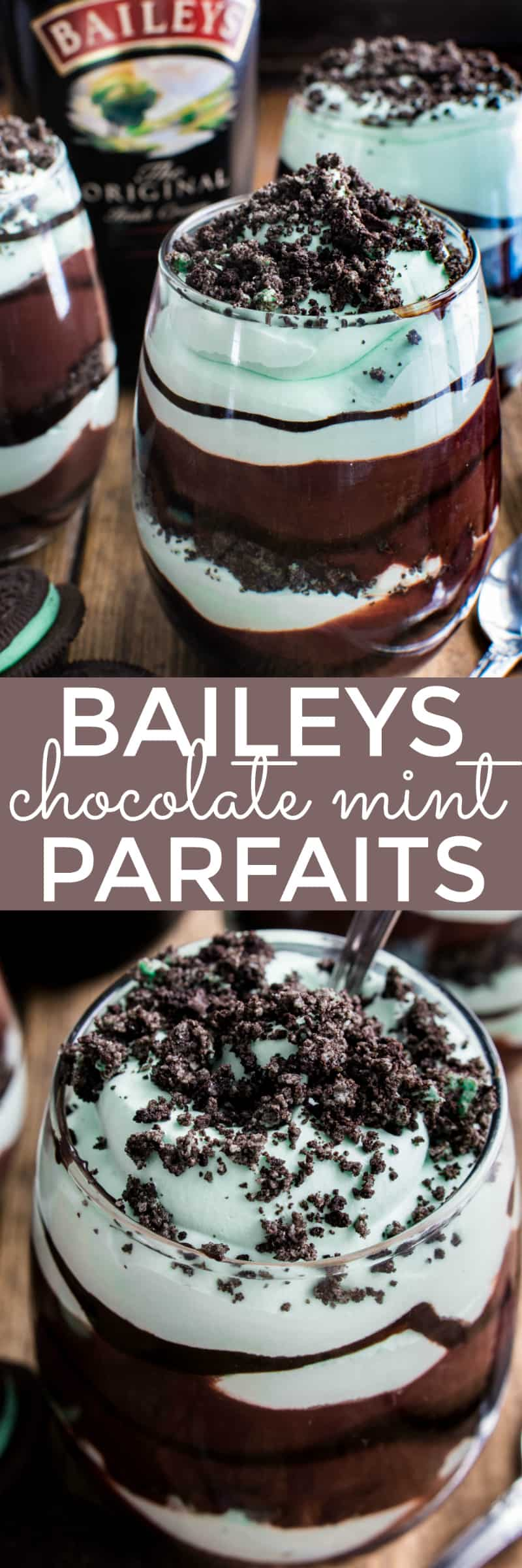 These Baileys Chocolate Mint Pudding Parfaits combine the classic flavors of chocolate, mint, and Baileys Irish Cream in one delicious no-bake dessert.