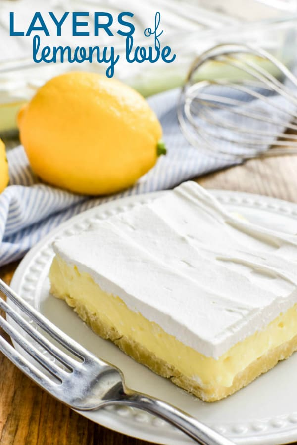 Layers of Lemony Love is a deliciously creamy lemon dessert that's perfect for spring! This easy dessert starts with a simple shortbread crust topped with sweet lemon cheesecake and creamy whipped topping. It's ideal for summer parties, picnics, or baby showers....and always a crowd favorite.