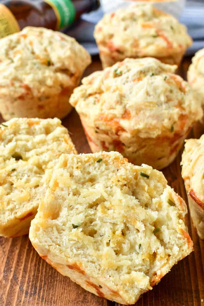 Take Beer Bread to the next level with these delicious Beer Cheese Muffins! Made with just eight simple ingredients, these muffins are incredibly easy to make and are the perfect addition to any meal. Enjoy them with a bowl of soup, a salad, or all on their own. If you love beer bread, you'll fall in love with these perfectly crusty, perfectly delicious Beer Cheese Muffins!