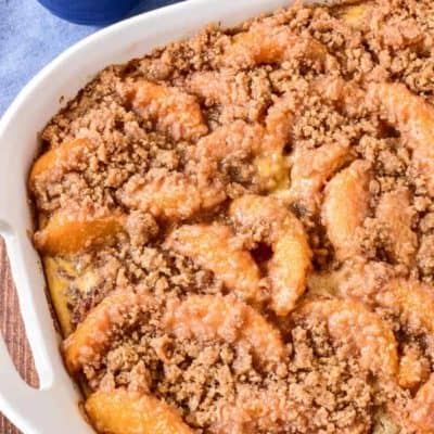Peach Cobbler Baked French Toast