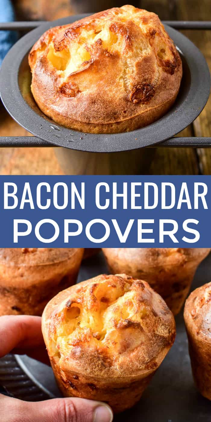 Take your dinner rolls to the next level with these Bacon Cheddar Popovers! They're just like traditional popovers - light, airy, and crispy around the edges - with the delicious addition of bacon and cheddar cheese. These popovers are the perfect side dish for any meal and can even double as breakfast. And best of all, they're so easy to make. Just 6 ingredients and 5 minutes of prep is all it takes for these yummy bacon & cheese popovers - guaranteed to become a favorite!