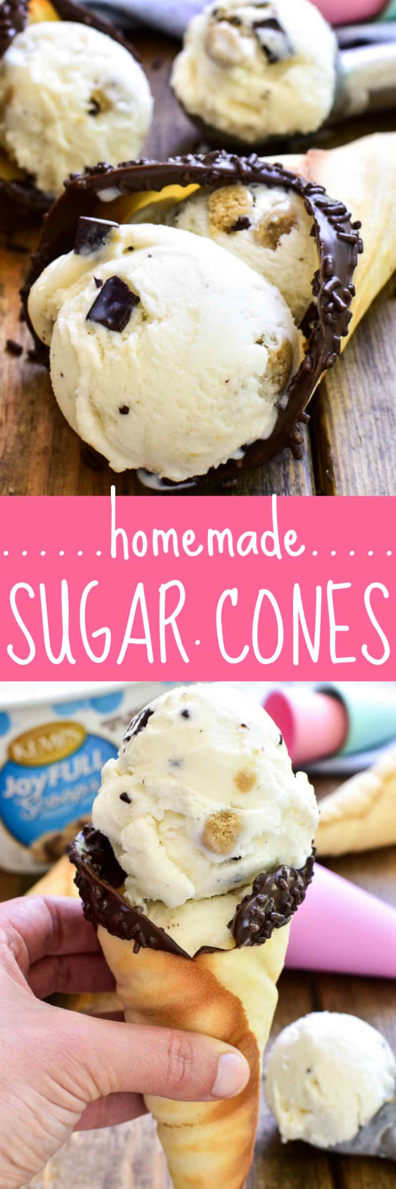Take your favorite summer treat to the next level with Homemade Sugar Cones! These cones are easy to make, with just a handful of ingredients, and they taste amazing. Best of all, there's no waffle cone maker required. Which means anyone can make them! These homemade ice cream cones can be made in the oven or on the stovetop, and they can easily be made in different sizes and decorated for different occasions. They're the perfect EASY way to make your favorite frozen treats even better!