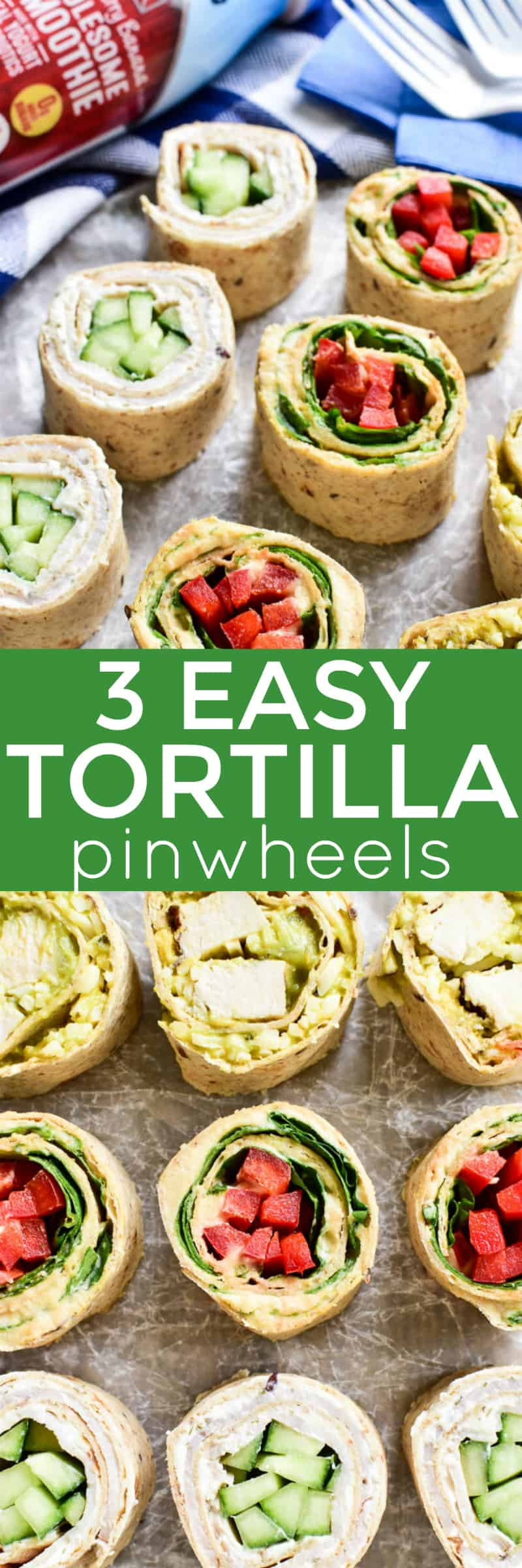 Tortilla Pinwheels make the perfect snack for busy summer days! They're healthy, satisfying, and can easily be made with any of your favorite ingredients.  These 3 easy pinwheel recipes are each made with just four ingredients, and they come together in no time at all. Just fill them, roll them, slice them, and they're ready to enjoy.  And....they pair perfectly with Live Real Farms Wholesome Smoothies for an easy snack or lunch on the go! #sponsored