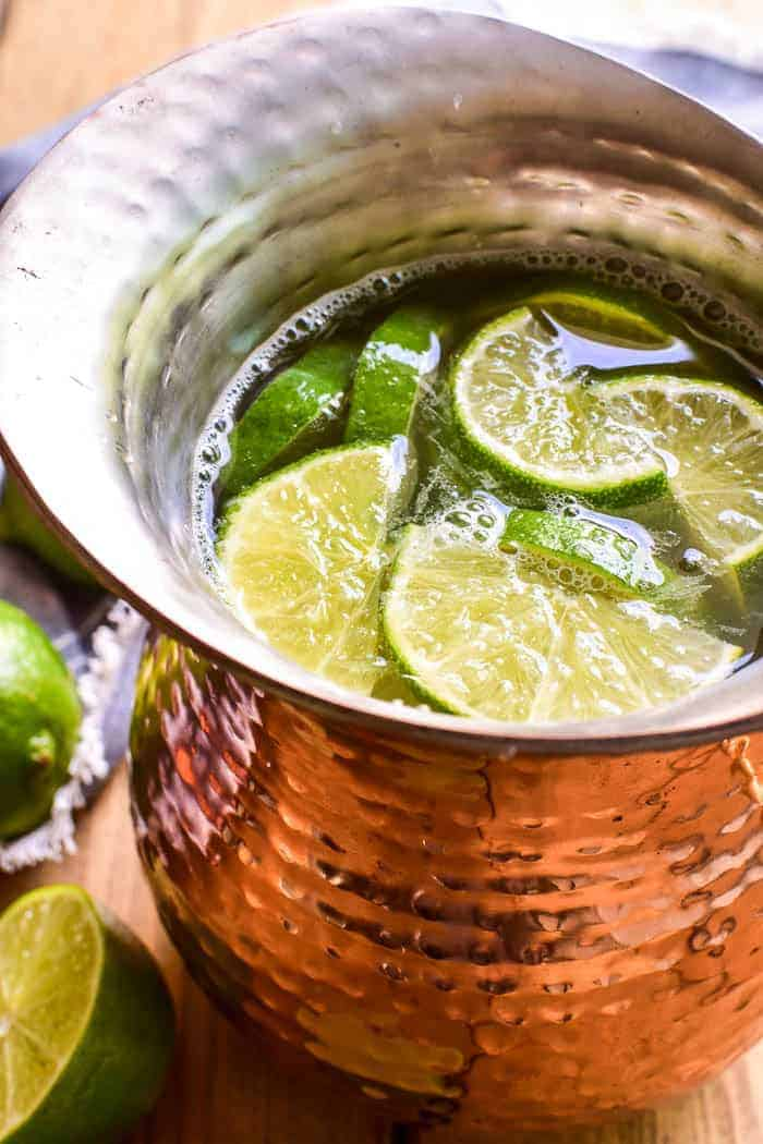 Two classic cocktails unite in this delicious Moscow Mule Sangria! This drink combines all the flavors of Moscow Mules with a delicious sparkling Prosecco for a bubbly sangria that's sure to become a new favorite.