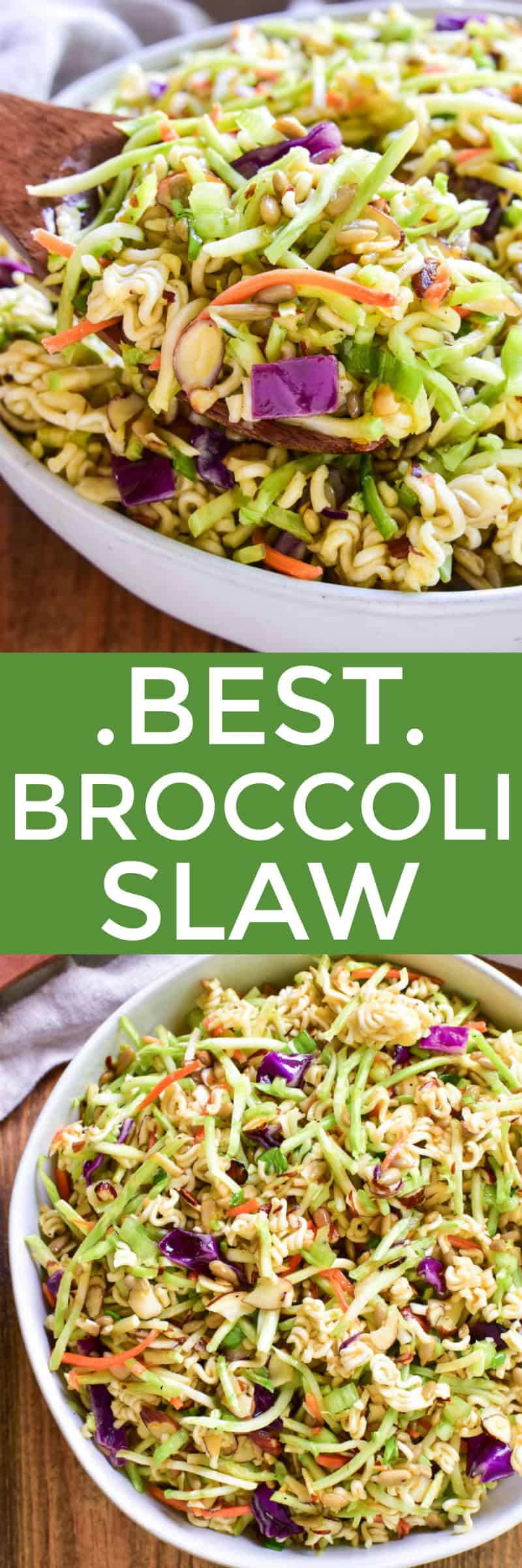 The BEST Broccoli Slaw recipe! This salad always gets rave reviews. It's loaded with broccoli, almonds, sunflower seeds, ramen noodles, and green onions and tossed in the most flavorful dressing. Perfect for end of summer picnics or year round get togethers, if you love cole slaw, you'll love this delicious broccoli slaw twist!