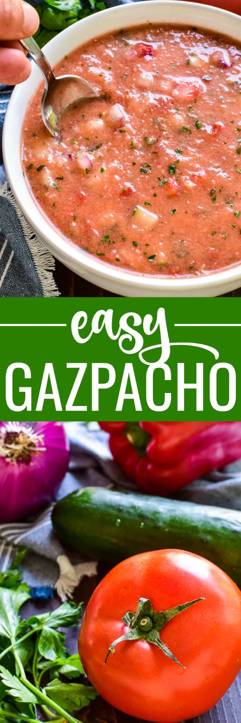 This Easy Gazpacho is the perfect way to make use of fresh garden veggies! Loaded with ripe tomatoes, cucumbers, red peppers, and onions, this chilled soup has just the right blend of flavors and textures. It makes a delicious lunch or dinner, and could also be served a light appetizer.