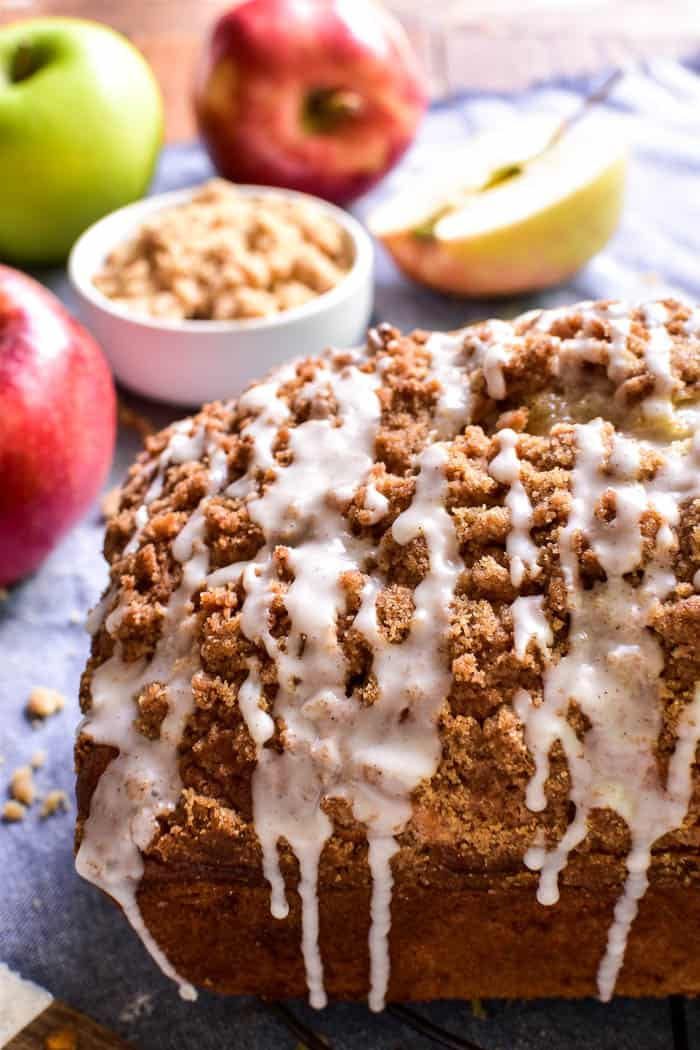 Apple Bread with streusel topping and cinnamon glaze