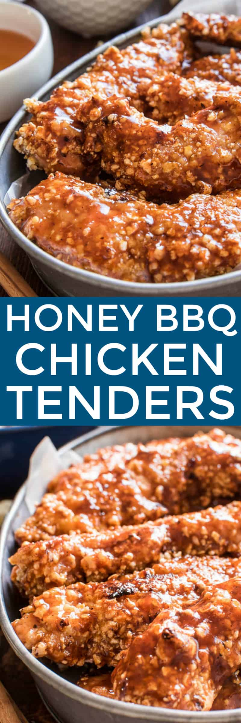 Honey BBQ Chicken Tenders are the perfect option for easy weeknight dinners! Tender, juicy chicken dipped in barbecue sauce, coated in crunchy kettle corn, and finished off with a sweet honey barbecue glaze. These chicken tenders are oven-baked and make a delicious family meal....and they're perfect for game days, too. If your family loves chicken tenders, this recipe is a must make!
