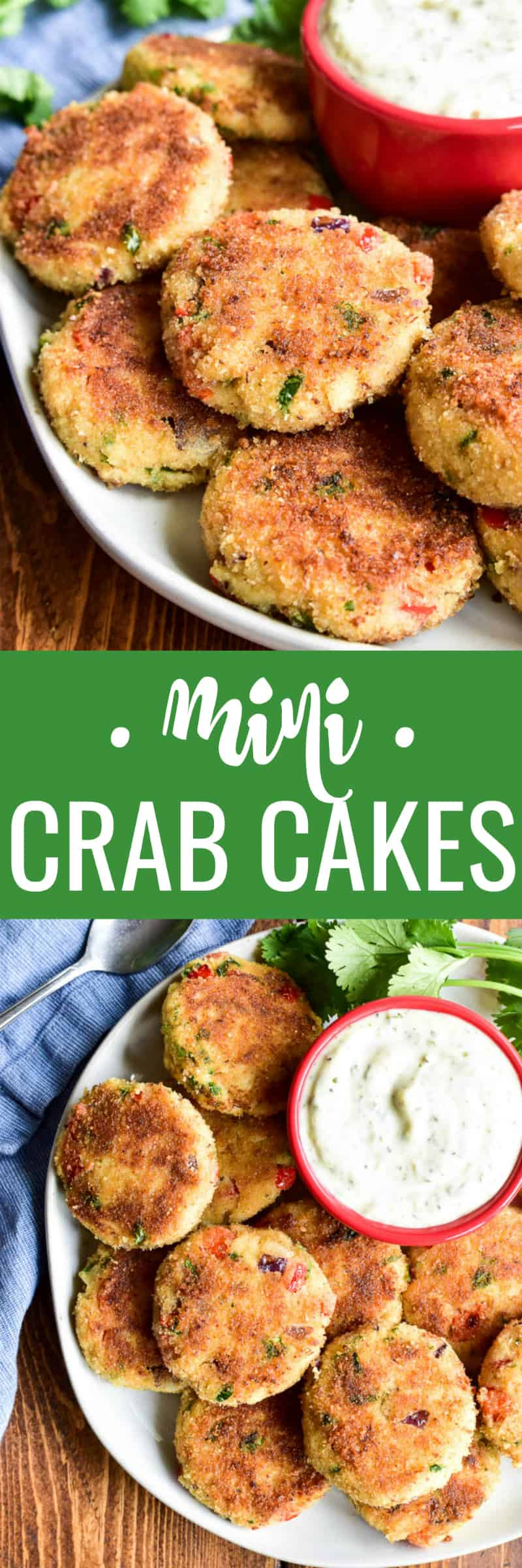 Mini Crab Cakes make the perfect holiday appetizer! All the flavors of the delicious crab cakes you love in a delicious bite-sized appetizer that's party-friendly and sure to be a favorite. These crab cakes are loaded with lump crab meat, red pepper, red onion, and cilantro. They're packed with flavor and delicious all on their own or with homemade garlic aioli.