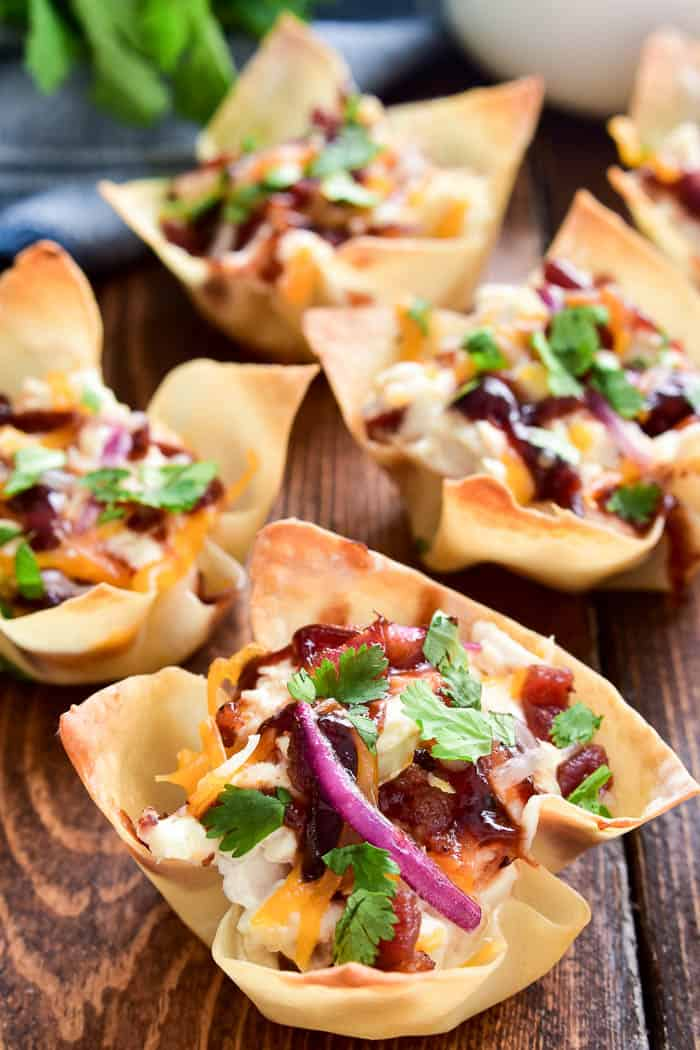 BBQ Chicken Wonton Cups with red onion and cilantro