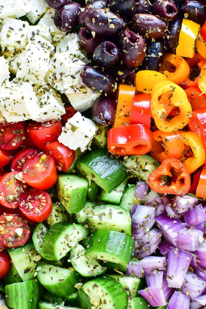 Close-up of Greek Salad ingredients
