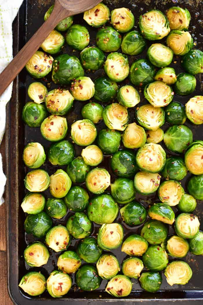 Oven-ready Honey Soy Brussels Sprouts on pan