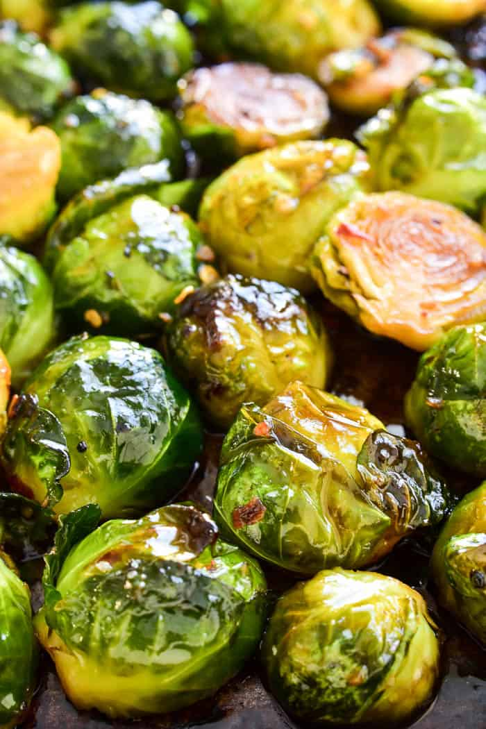 Roasted Brussels Sprouts on pan