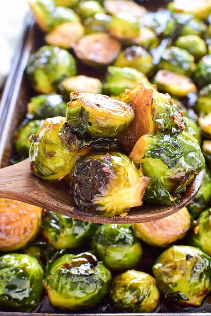 Roasted Brussels Sprouts on serving spoon