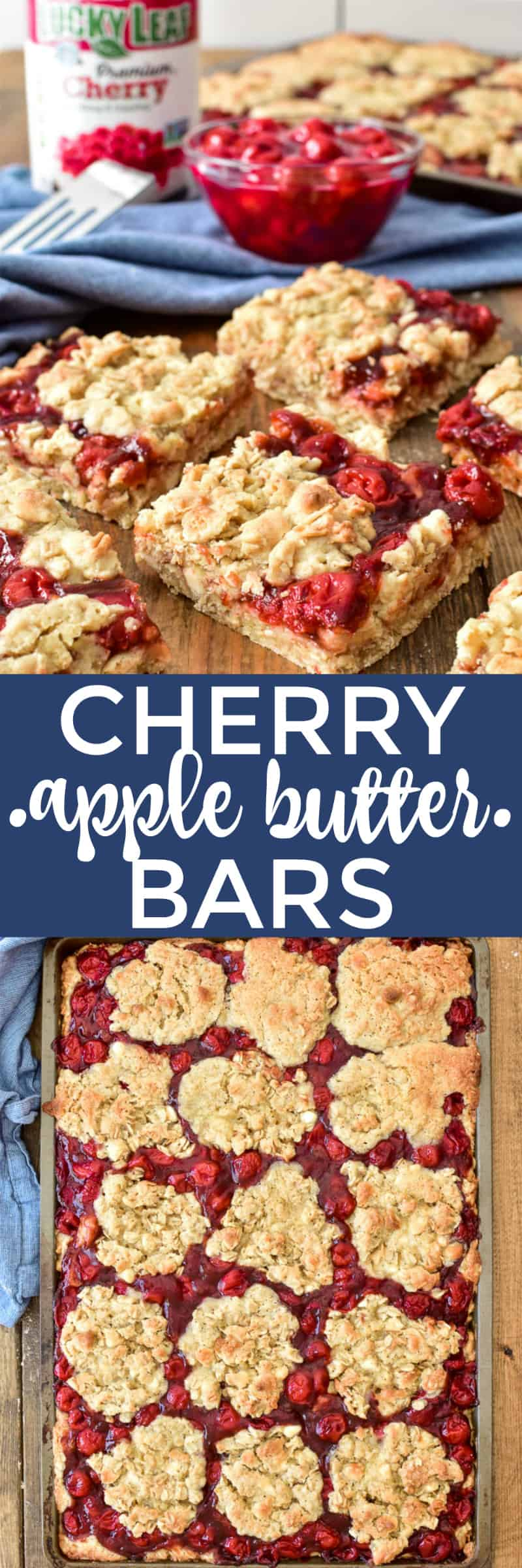 These Cherry Apple Butter Bars are the ultimate cherry pie bars. They're sweet, delicious, and perfect for feeding a crowd. Made with Lucky Leaf Cherry Pie Filling and a twist of apple butter, these bars take your favorite dessert to the next level. They're easy to make, easy to transport, and one pan goes a long way!