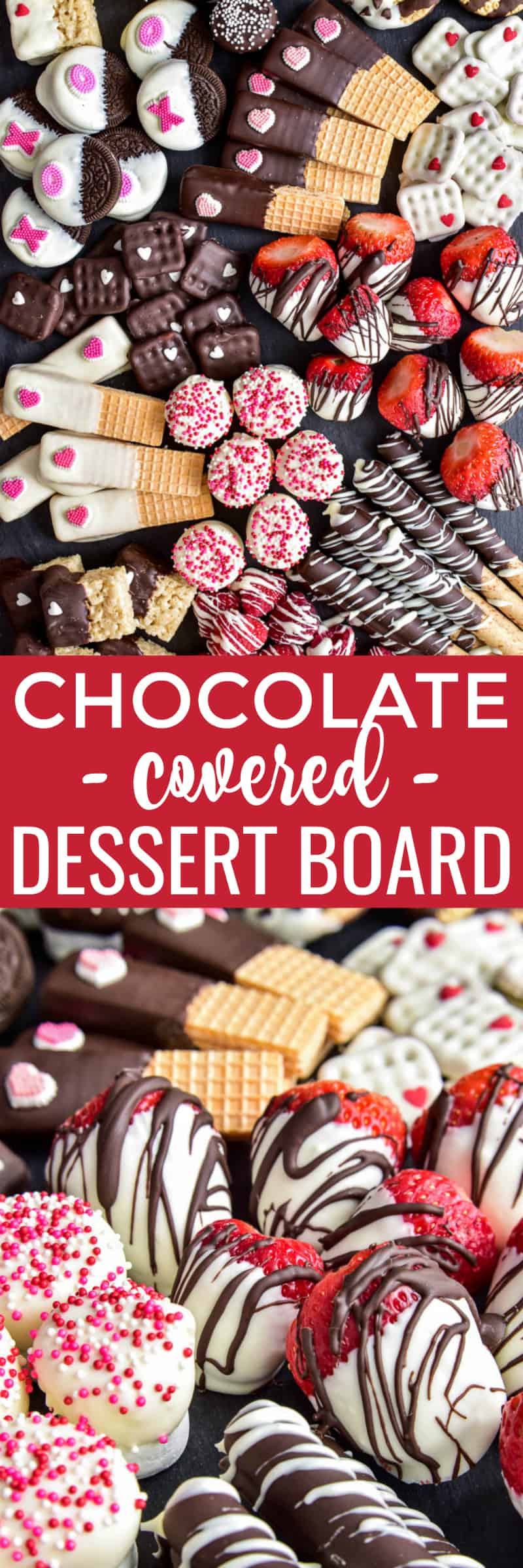 Take your dessert party to the next level with this Chocolate Covered Dessert Board! Loaded with delicious sweet treats that are all chocolate-dipped and decorated, this dessert board is a chocolate lover's dream!