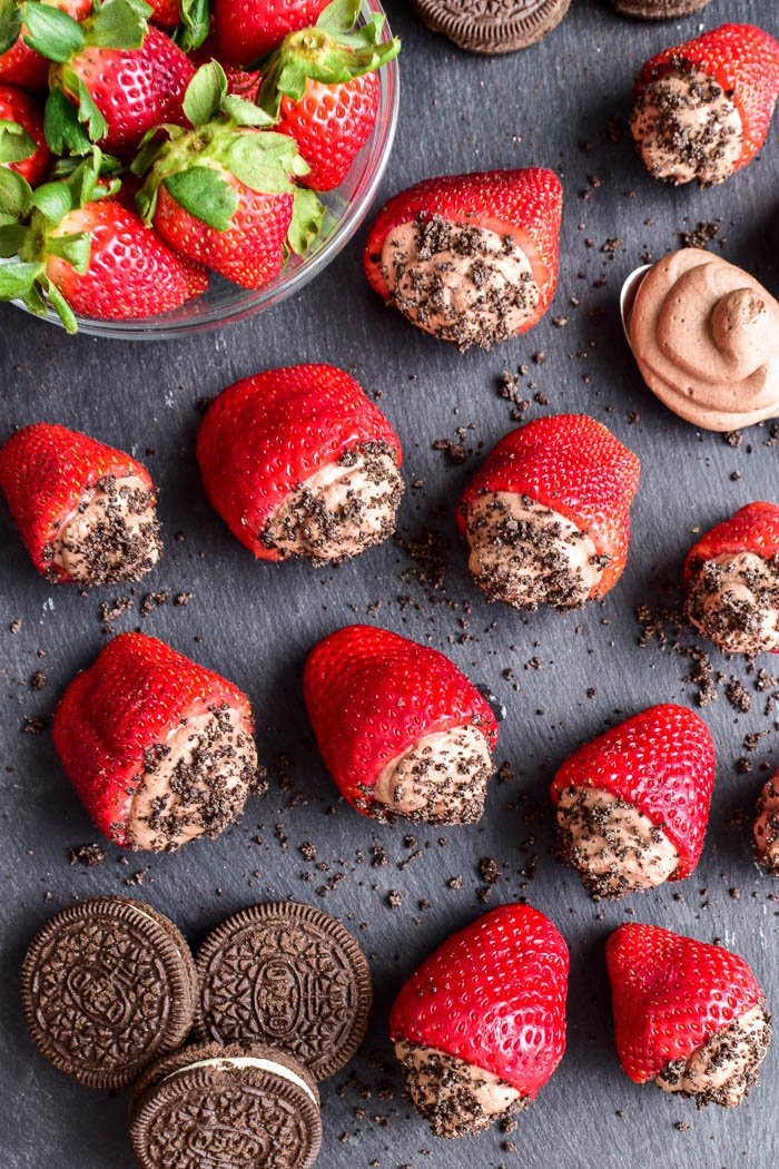 Overhead shot of chocolate mousse stuffed strawberries