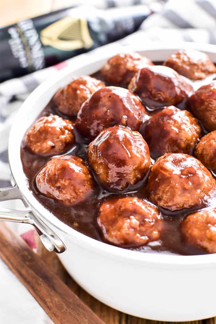 Guinness Glazed Meatballs in saucepan