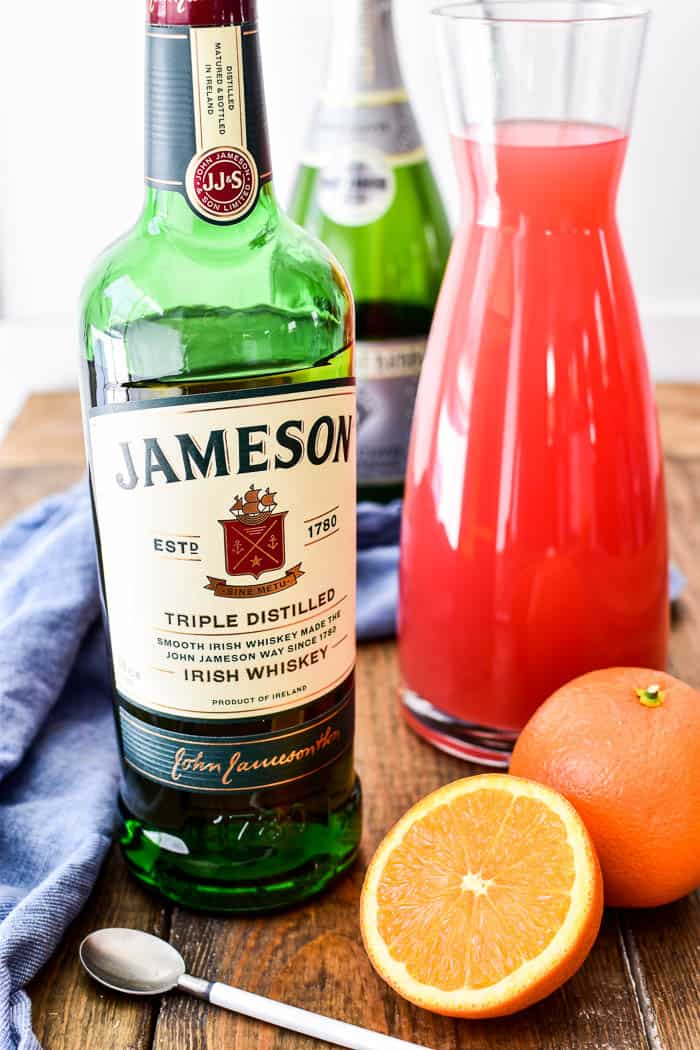 Jameson, grapefruit juice, and oranges