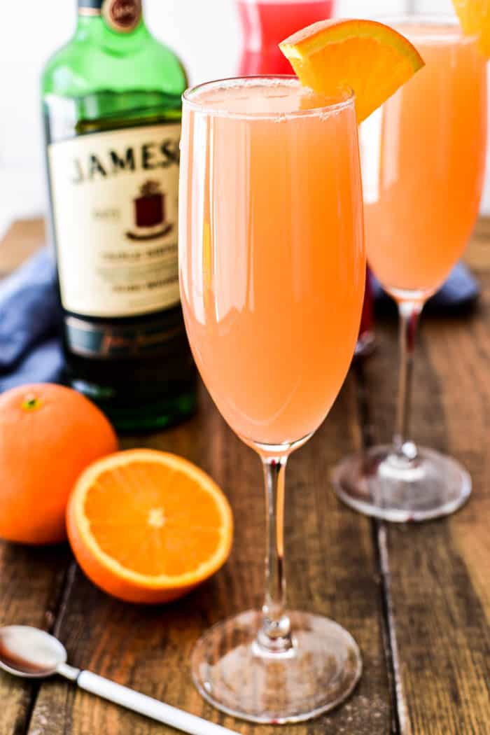 Irish Mimosa with orange wedge
