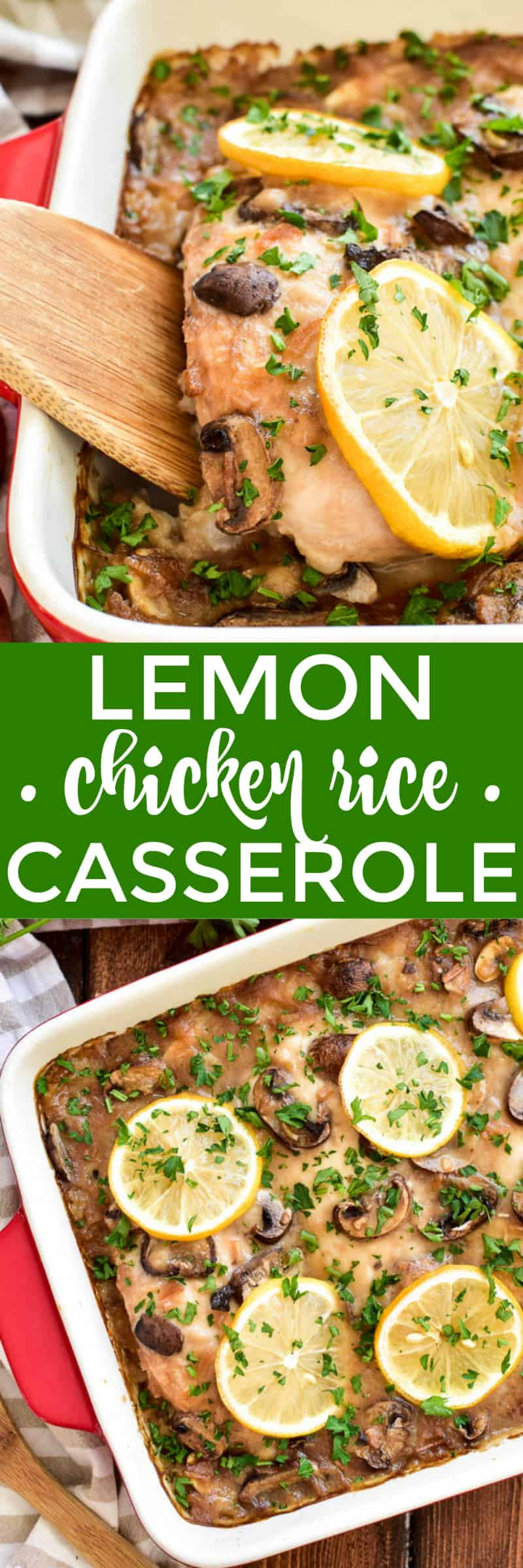 Lemon Chicken Rice Casserole makes the BEST weeknight dinner! It's easy to prep - with just 8 simple ingredients - and oven-ready in less than 10 minutes. This recipe takes classic chicken & rice casserole to the next level with the addition of fresh mushrooms and a burst of lemon. If your family loves chicken, you'll definitely want to add this casserole to your dinner rotation!