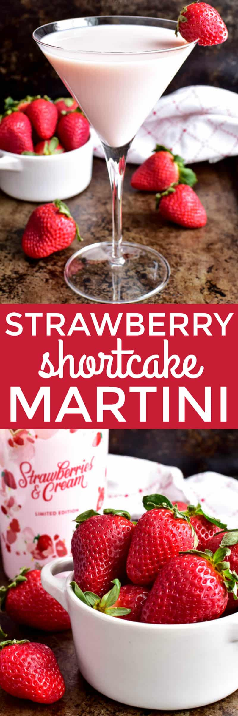 This Strawberry Shortcake Martini is the ultimate dessert drink.  Made with just 3 simple ingredients, this cocktail is sweet, creamy, and packed with yummy strawberry flavor.  It's the perfect drink for Valentine's Day, ladies' nights, or special celebrations. If you love strawberry shortcake, you're sure to adore this fun, delicious twist!