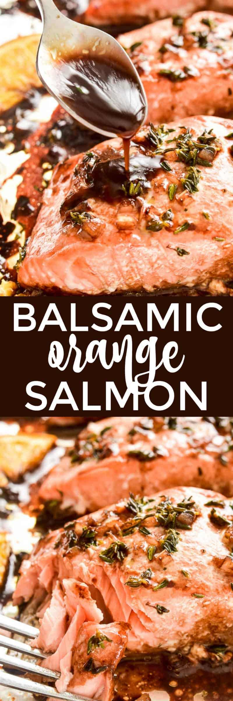 Collage image of Balsamic Orange Glazed Salmon