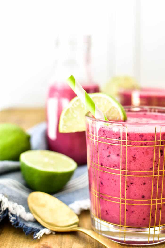 Close-up of Berry Lime Smoothie