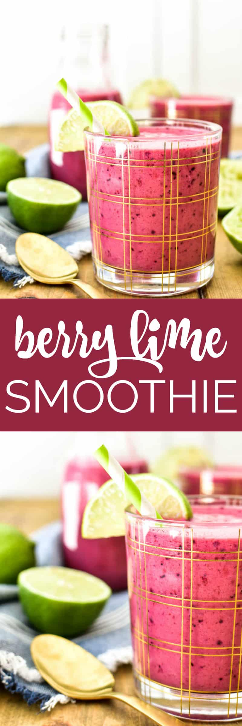 Collage image of Berry Lime Smoothie in a glass