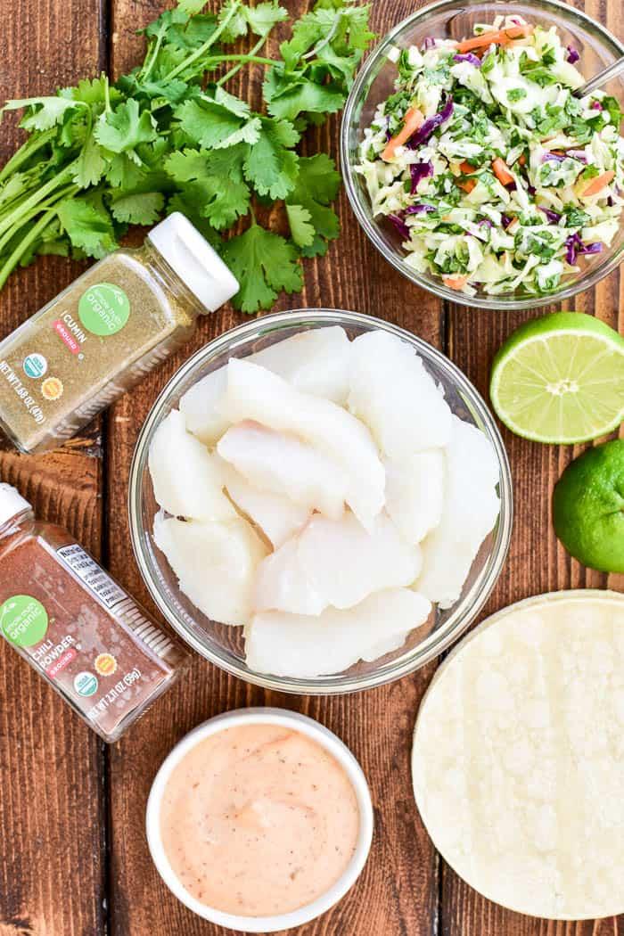 Baja Fish Taco ingredients in bowls