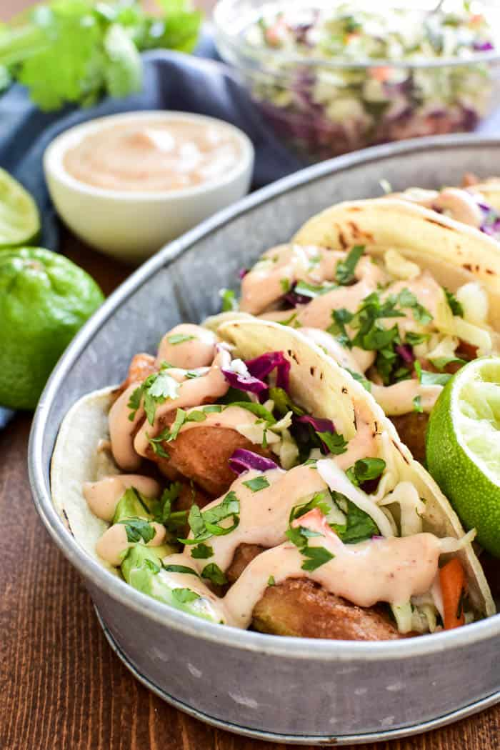 Close-up of Baja Fish Tacos in serving dish