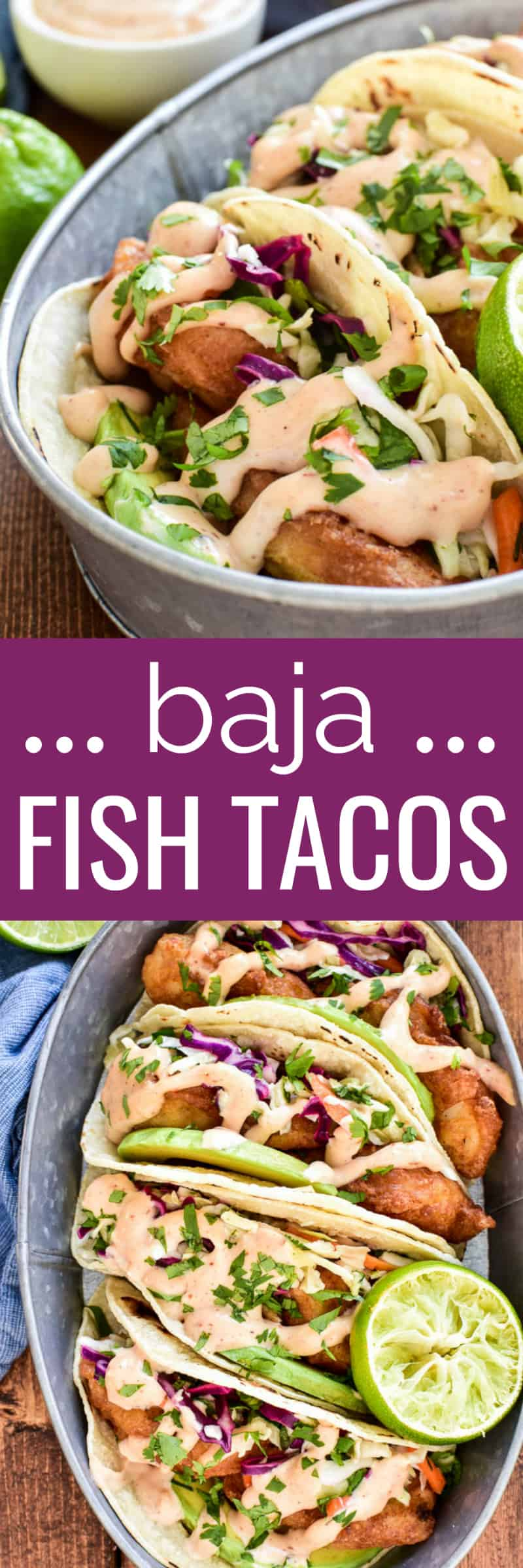 Collage image of Baja Fish Tacos