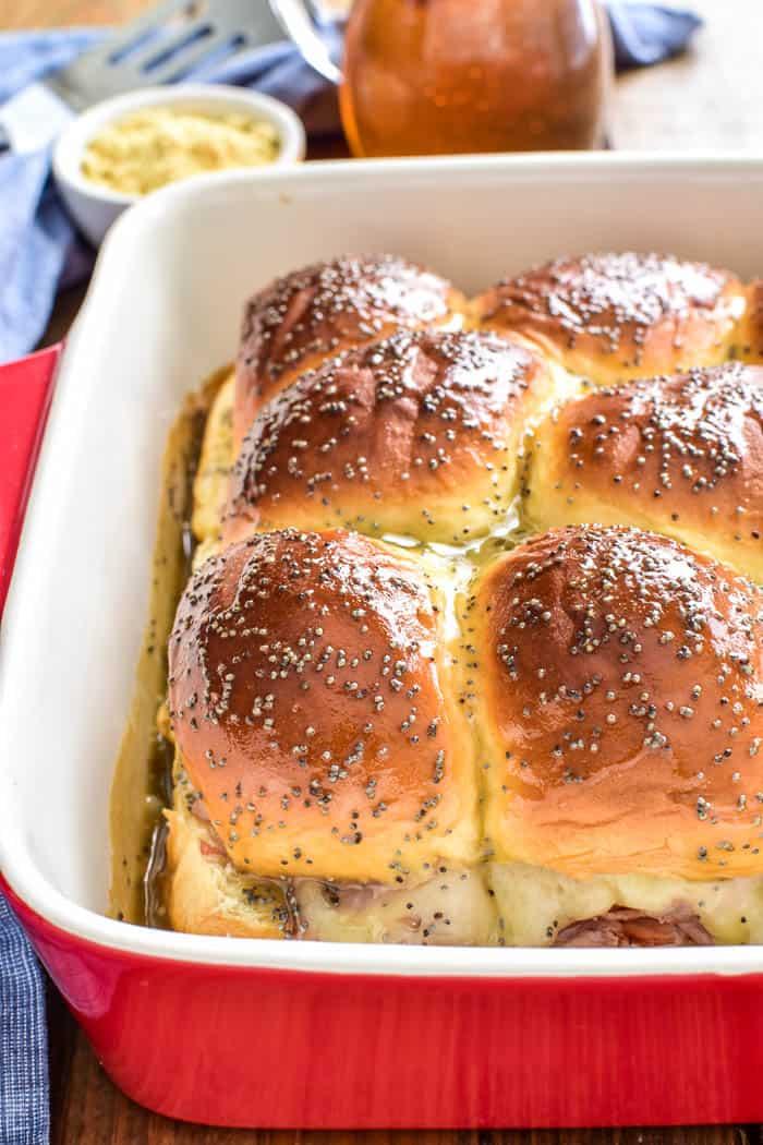 Close-up of Honey Mustard Ham & Cheese Sliders