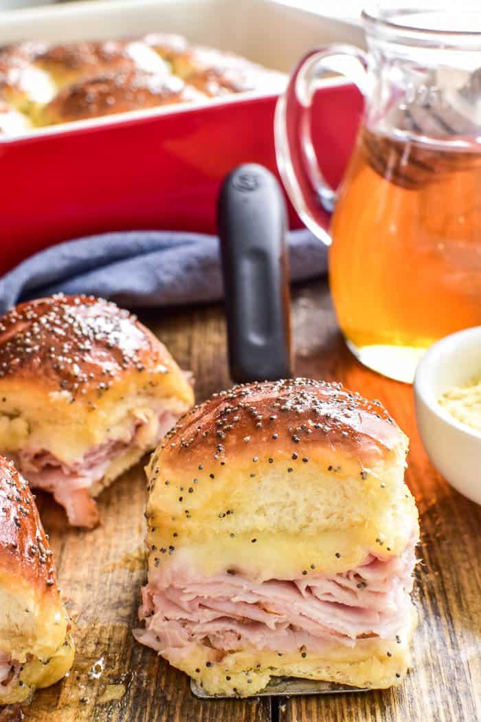 Honey Mustard Ham & Cheese Slider close up