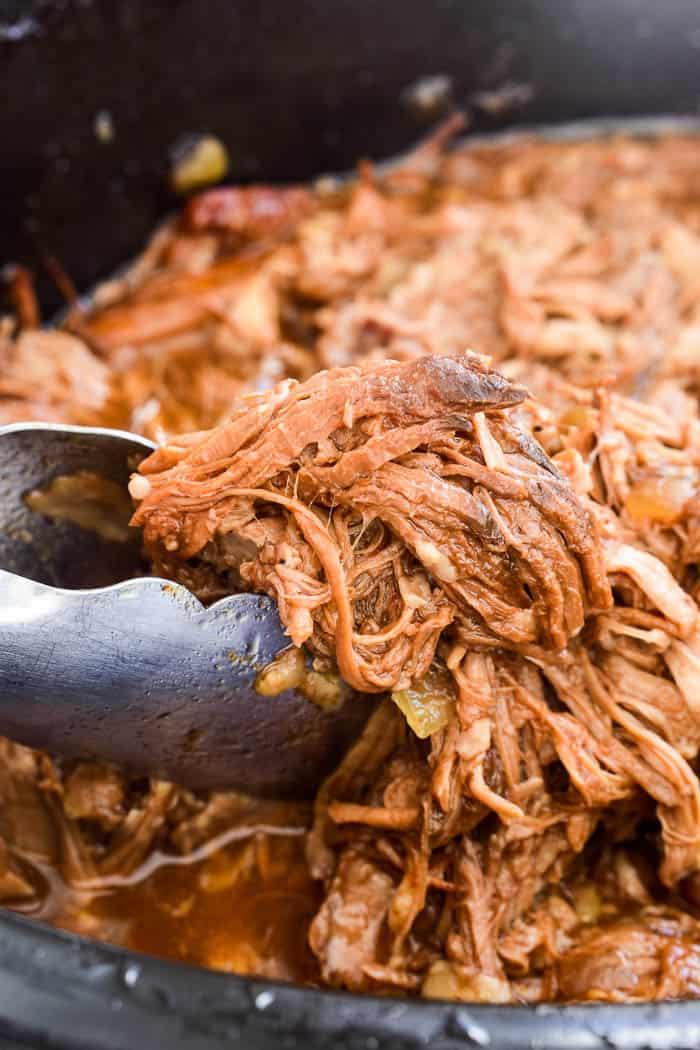 Honey Orange Pulled Pork in slow cooker