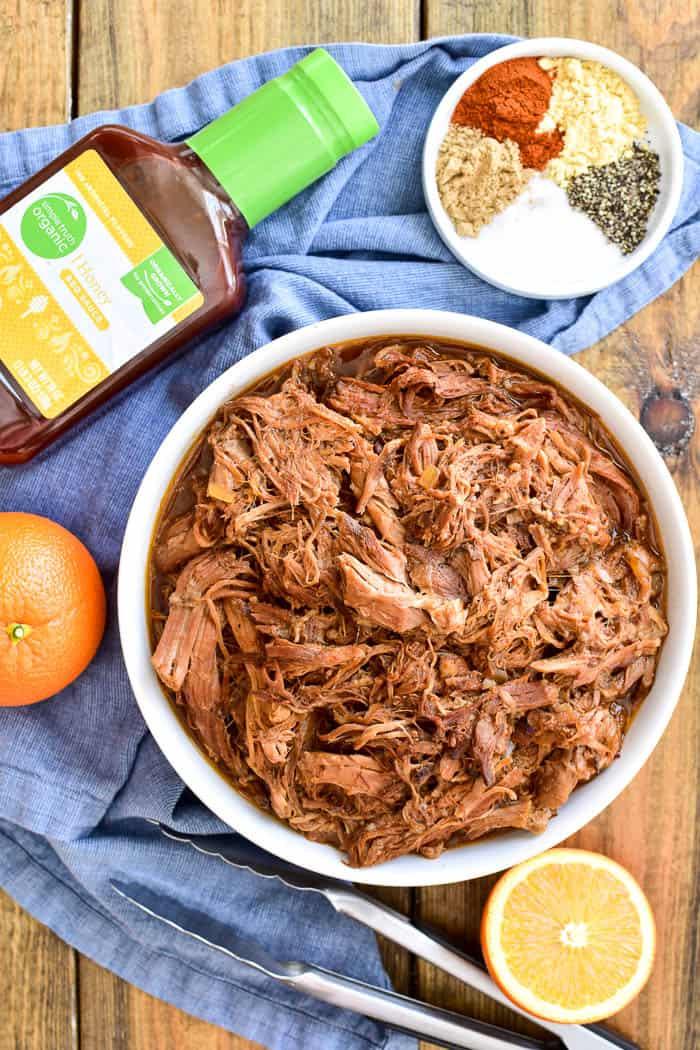 Honey Orange Pulled Pork with ingredients