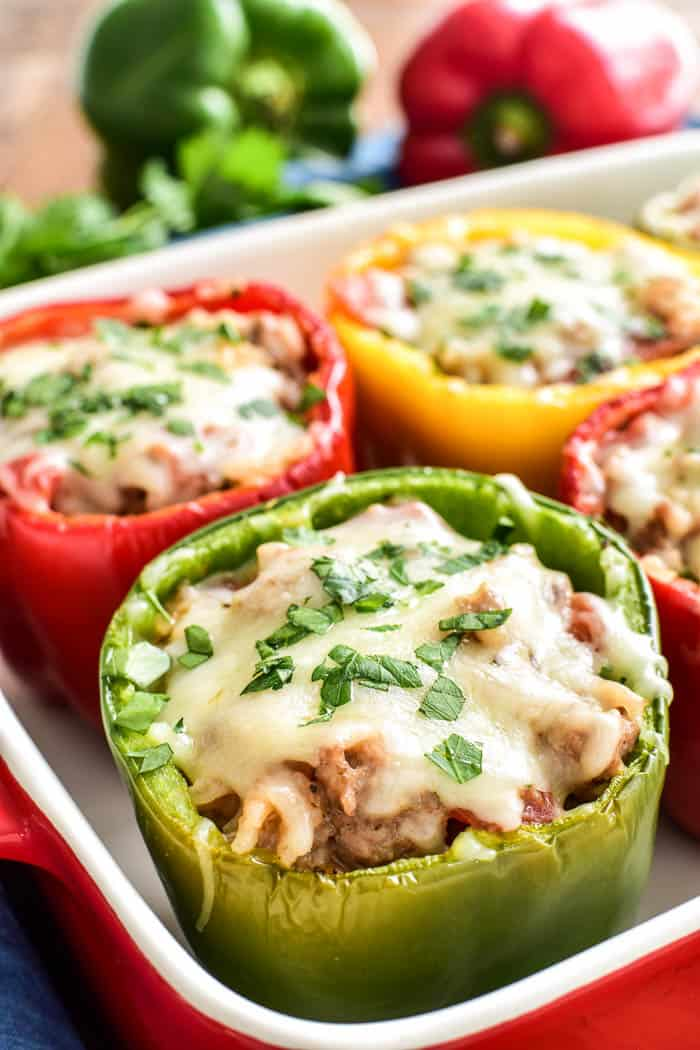 Multi-colored Italian Stuffed Peppers in a pan
