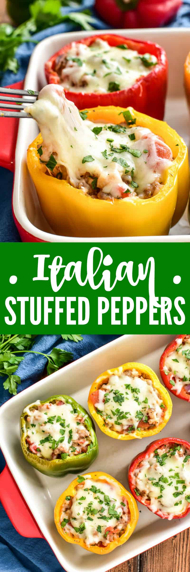 Collage image of Italian Stuffed Peppers