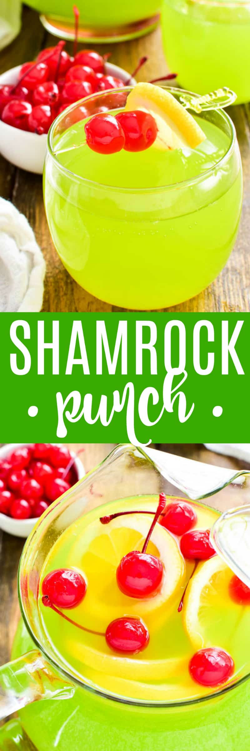 Shamrock Punch is the ultimate St. Patrick's Day drink! Made with Midori, pineapple juice, vodka, and a splash of soda, this punch is fizzy, sweet, and perfectly green.  Make it in a punchbowl or by the pitcherful....and it makes great shots, too. Any way you sip it, this punch is exactly what your St. Patrick's Day party needs!