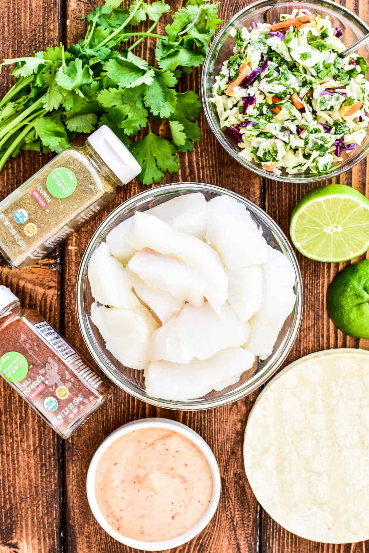 Ingredients for Baja Fish Tacos