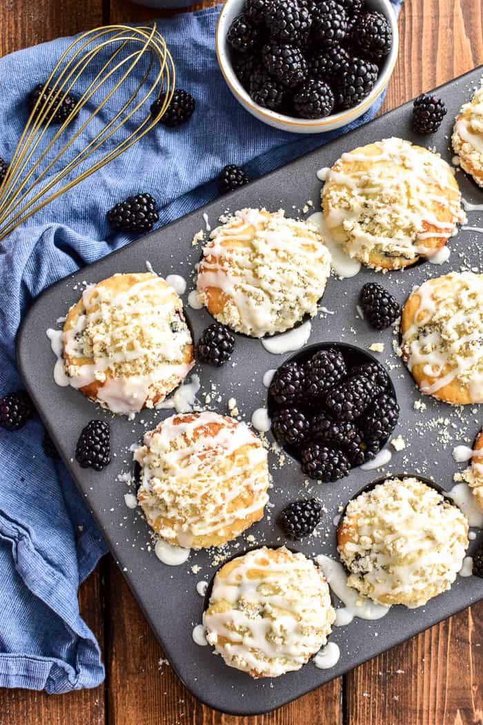 Blackberry Streusel Muffins with fresh blackberries