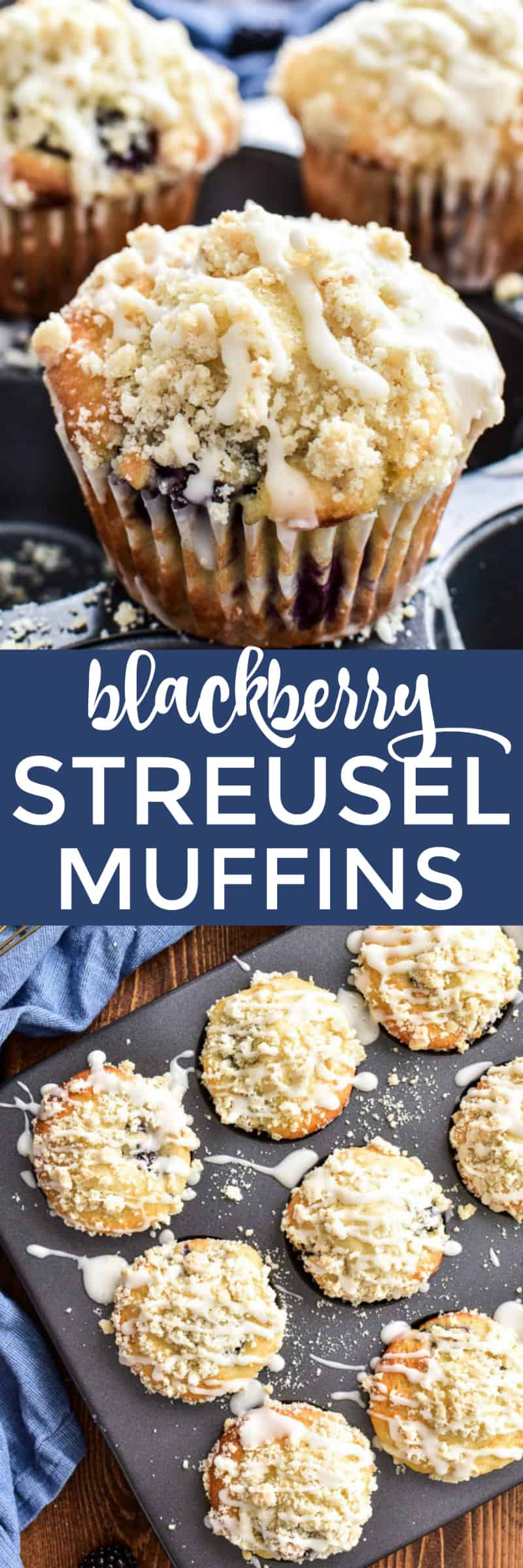 Collage image of Blackberry Streusel Muffins