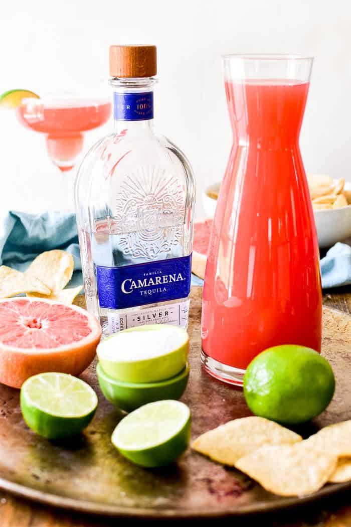 Grapefruit Margarita ingredients on serving tray