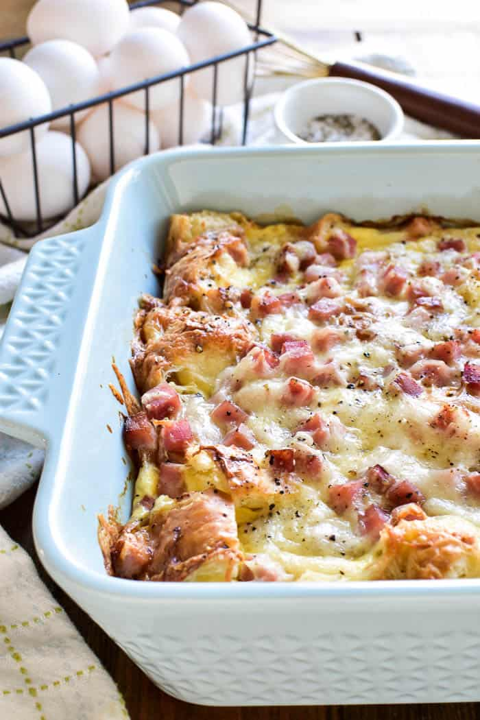 Ham & Cheese Croissant Egg Bake in pan