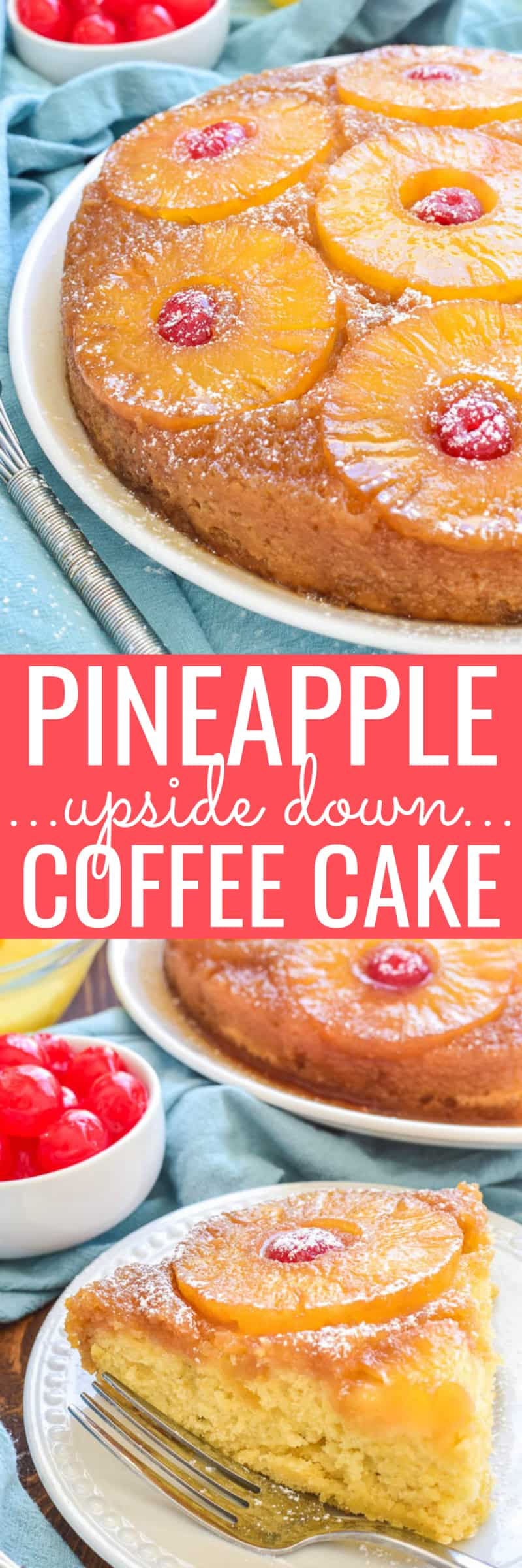 Collage image of Pineapple Upside Down Coffee Cake