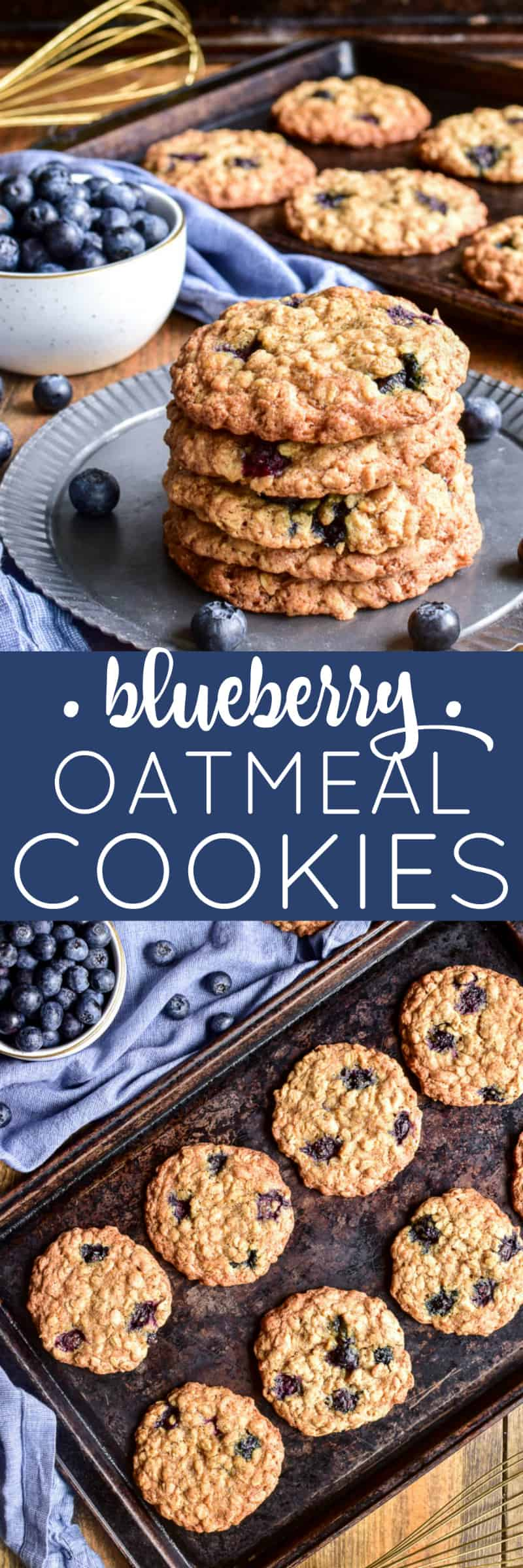 Collage image of Blueberry Oatmeal Cookies