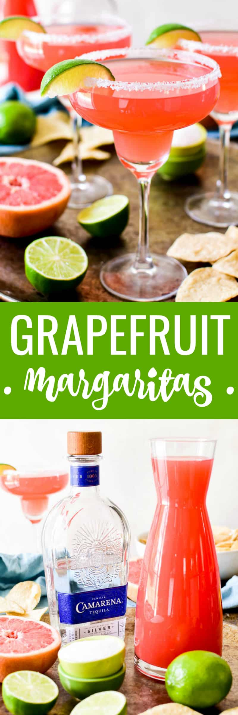 Grapefruit Margaritas are sure to become a new summer favorite!  This easy margarita recipe is made with just 4 ingredients and comes together in no time. Perfect for summer parties, cookouts, or lazy days by the pool.  If you love margaritas, you'll love this refreshing, delicious twist!